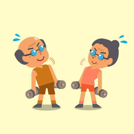grandpa and grandma: Cartoon old man and old woman doing dumbbells exercise