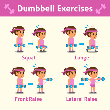 Cartoon set of a woman doing dumbbell exercise step for health and fitness