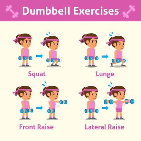 pesas: Conjunto de dibujos animados de una mujer haciendo ejercicio con mancuernas paso para la salud y la forma física
