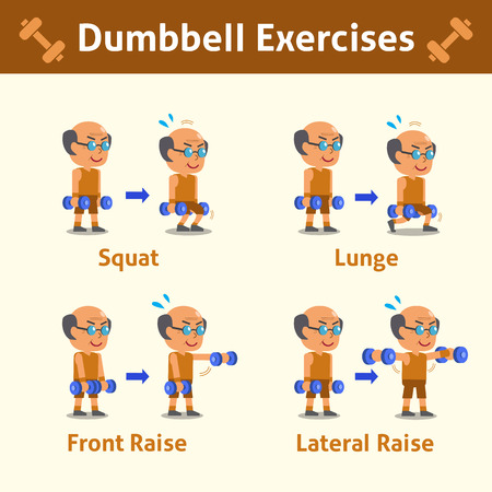 step fitness: Cartoon set of old man doing dumbbell exercise step for health and fitness