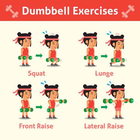 step fitness: Cartoon set of woman doing dumbbell exercise step for health and fitness