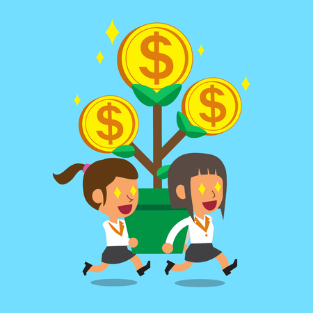 businesswomen: Cartoon businesswomen carrying big money tree