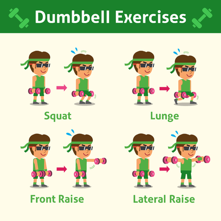 step fitness: Cartoon set of man doing dumbbell exercise step for health and fitness