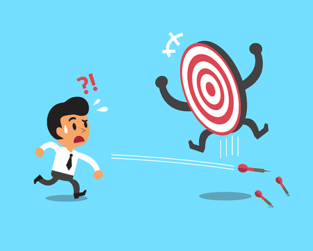 failed strategy: Businessman try to hit a target Illustration