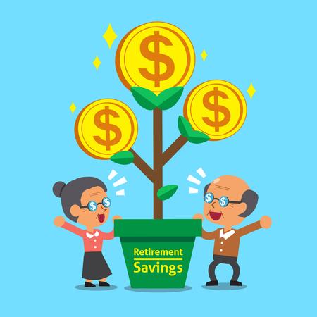 Cartoon senior people with retirement savings money tree