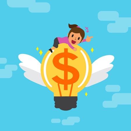Cartoon geschäftsfrau und das große Geld Idee Standard-Bild - 48758052