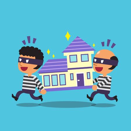Cartoon thieves stealing a house