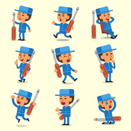 Cartoon technician character poses