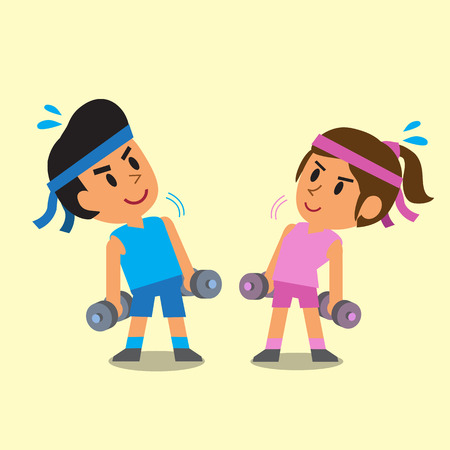 cute illustration: Cartoon man and woman doing dumbbells exercise Illustration