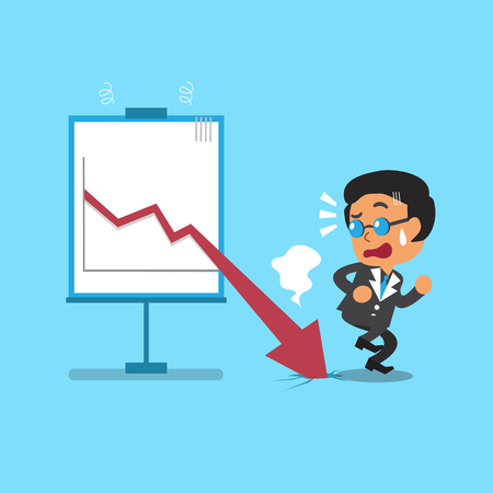 money market: Cartoon businessman with red arrow chart Illustration