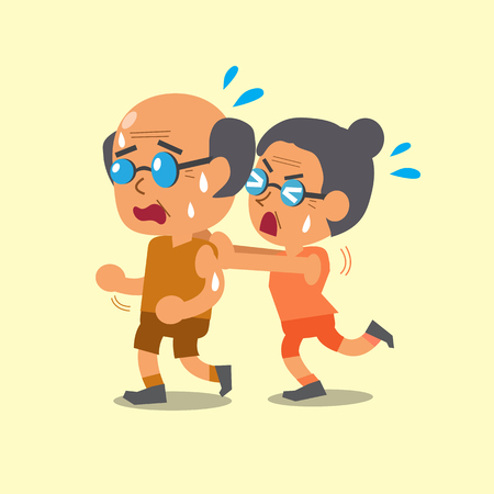 senior exercise: Cartoon sport old woman and old man Illustration