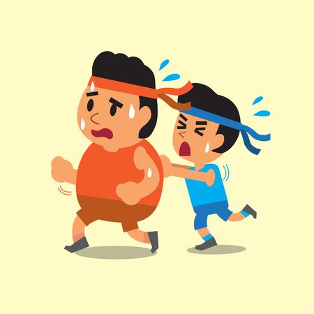Cartoon Sport Mann fetter Mann helfen zu laufen Standard-Bild - 49126136