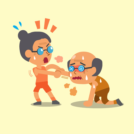 telephone cartoon: Cartoon sport old woman helping old man to run Illustration