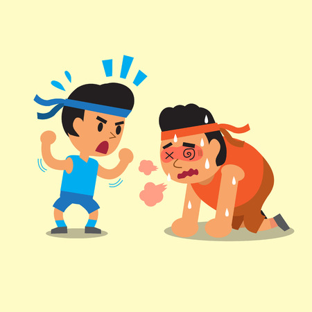 telephone cartoon: Cartoon a sport man helping fat man to run
