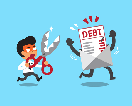 business words: Cartoon businessman holding scissors to cut debt letter