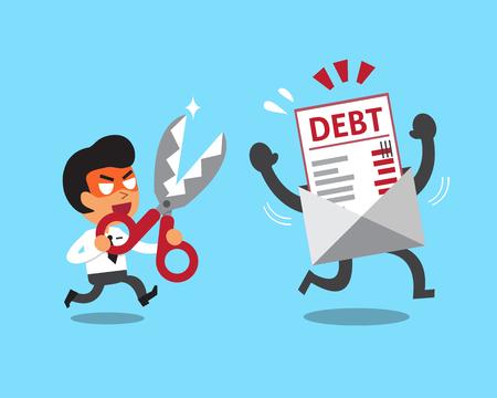 gestion empresarial: hombre de negocios de dibujos animados con tijeras para cortar carta de la deuda