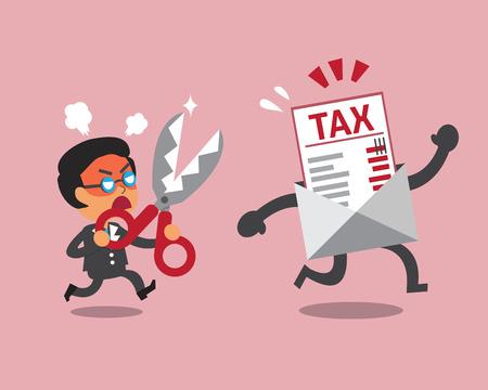 hombre de negocios de dibujos animados con tijeras para cortar carta impuestos Ilustración de vector