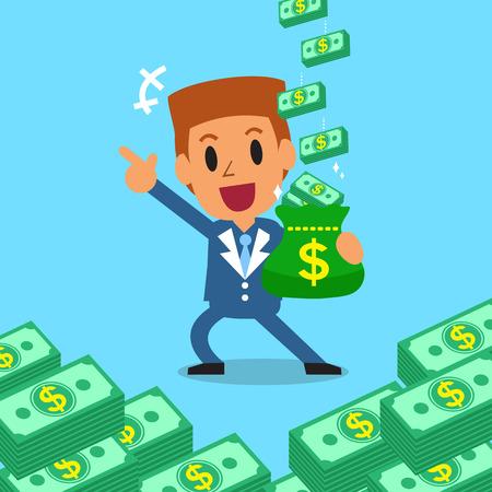 Cartoon Geschäftsmann, Geld zu verdienen Standard-Bild - 49126161