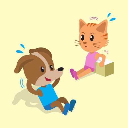 sit ups: Cartoon a cat and a dog doing exercise