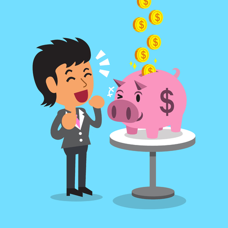 earning: Cartoon businesswoman earning money with pink piggy