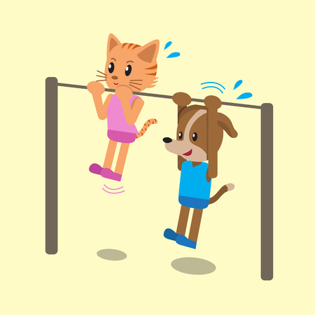 strong chin: Cartoon cat and dog doing chin ups exercise together Illustration