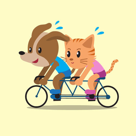 tandem bicycle: Cartoon a cat and a dog ride tandem bicycle Illustration
