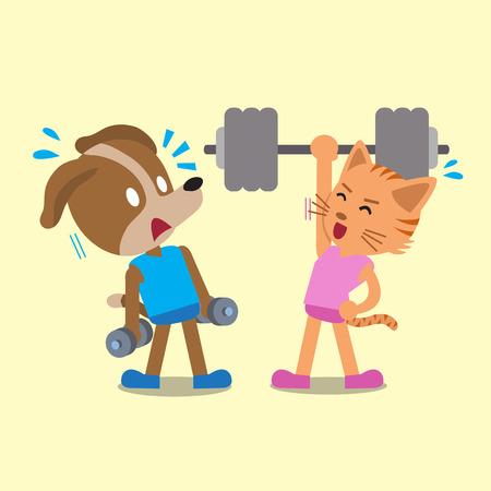 Cartoon Katze und Hund tun, Krafttraining Standard-Bild - 49066284