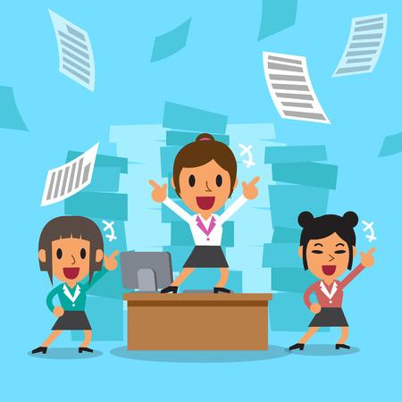 happy business team: Cartoon business women team