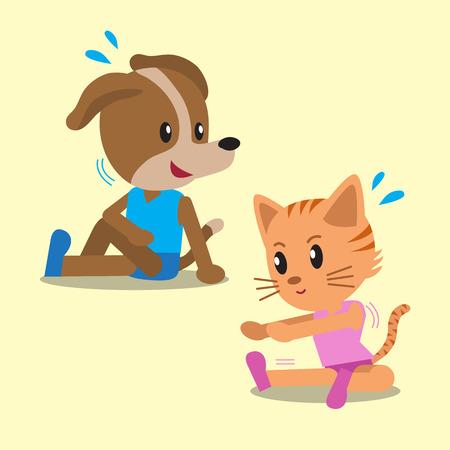 haciendo ejercicio: Dibujos animados del gato y el perro que hace ejercicio
