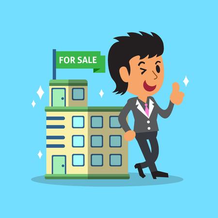 broker: Real estate broker agent and building for sale Illustration