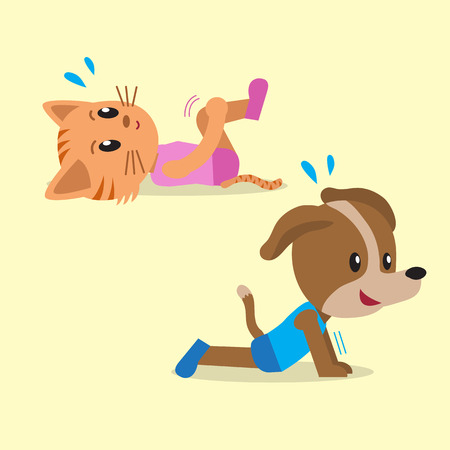 Cartoon cat and dog doing exercise for health