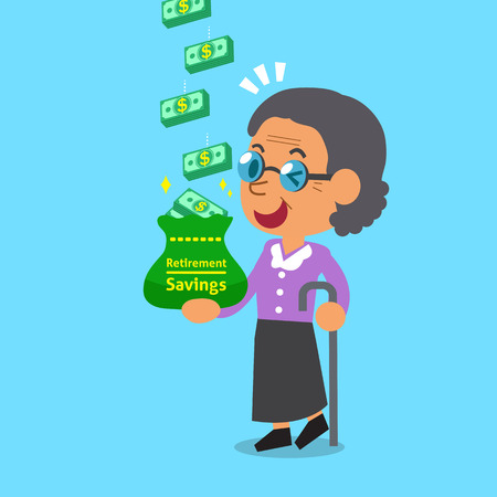 earning: Cartoon old woman earning money stack