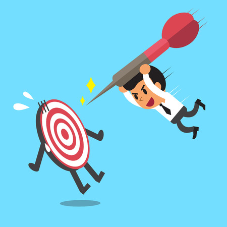 try: Businessman try to hit a target Illustration