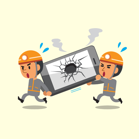 telefono caricatura: Los técnicos de dibujos animados que ayudan teléfono inteligente roto
