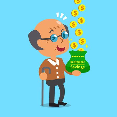 earning: Cartoon old man earning money