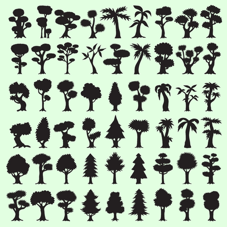 pine trees: 54 black trees silhouettes collection
