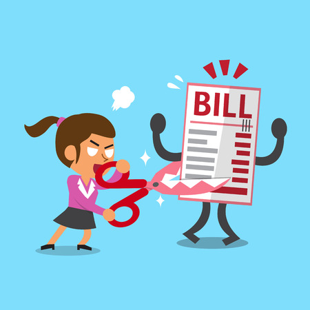 budget crisis: Cartoon a woman holding scissors to cut bill payment