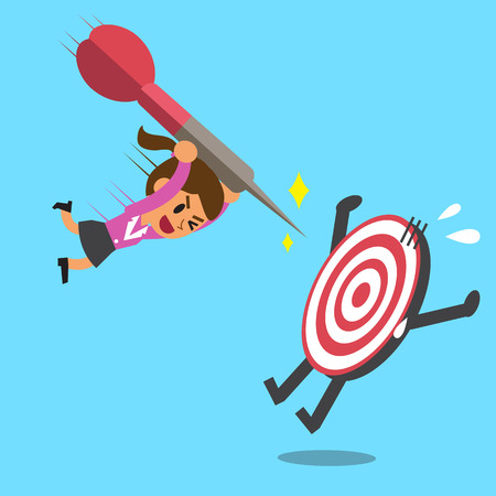 Businesswoman try to hit a target Illustration