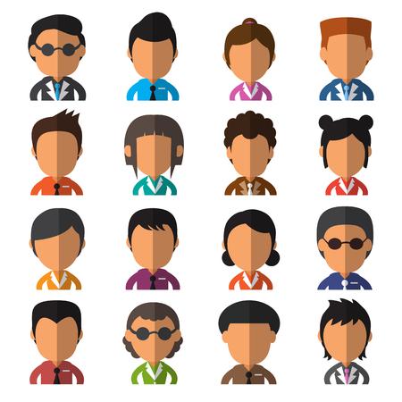 persone nere: Set di uomini d'affari avatar piatte Vettoriali