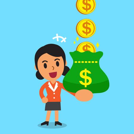 漫画実業家お金のコインを獲得  イラスト・ベクター素材