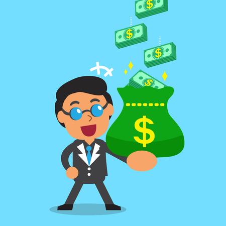 earning: Cartoon businessman earning money stack Illustration