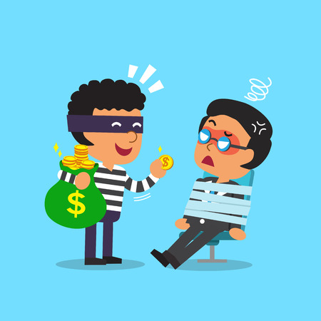 bag cartoon: Cartoon thief stealing money bag from businessman Illustration