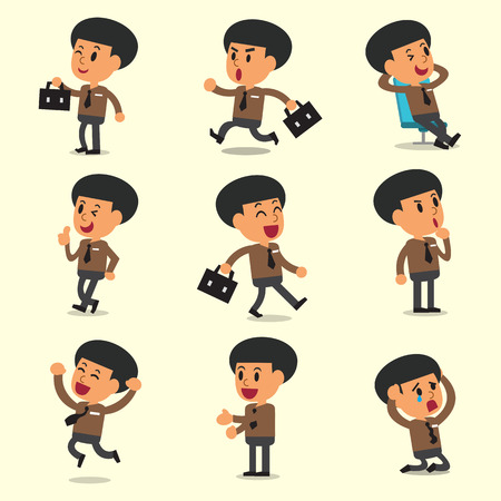 character poses: Cartoon businessman character poses on yellow background Illustration