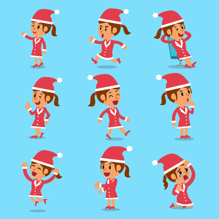 interaction: Cartoon woman character poses with christmas theme Illustration