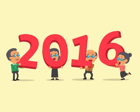 happy people: Senior people happy new year 2016