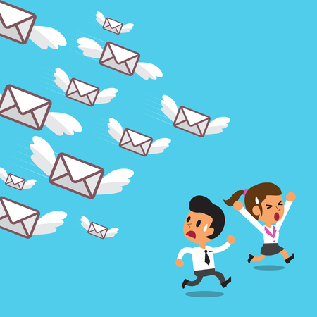 run away: Businessteam run away from a lot of mails Illustration