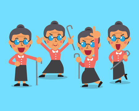 Cartoon old woman character poses