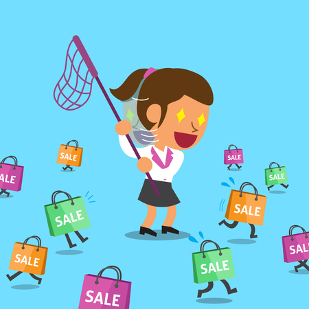 escape plan: Cartoon a woman and shopping bags