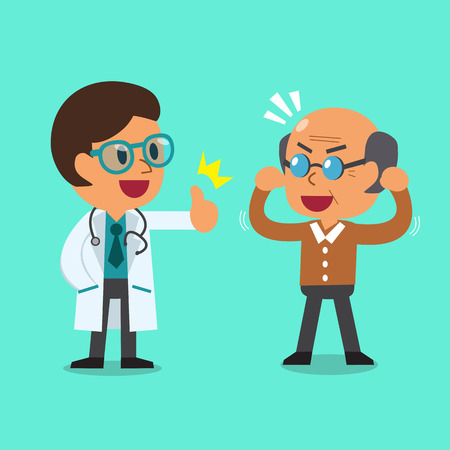 man clothing: Cartoon doctor and old man