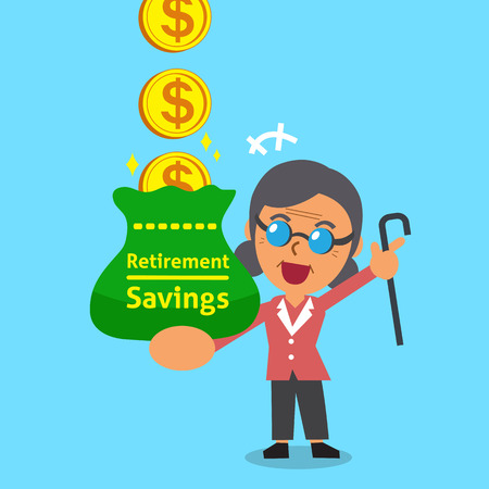 earning: Cartoon old woman earning money